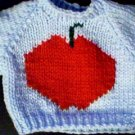 Handmade Apple Sweater for 16 inch Cabbage Patch Kid Doll