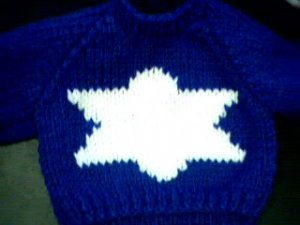 Handmade Jewish Hanukkah Star of David Sweater for 16 inch Cabbage Patch Kid doll
