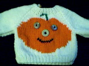 Handmade Halloween Jack O Lantern Sweater for 15 inch Bitty Baby Doll