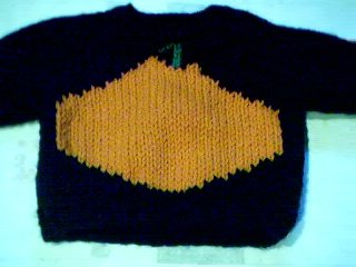 Handmade Halloween Pumpkin Sweater for 15 inch Bitty Baby Doll