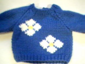 Handmade Two Flowers Sweater for 15 inch Bitty Baby Doll