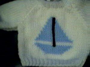 Handmade American Girl Doll Sweater - Sailboat