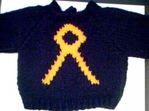 Handmade Cabbage Patch Kid Doll Sweater - Cancer Awareness Pin