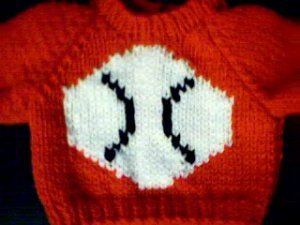 Handmade Bitty Baby Doll Sweater - Baseball