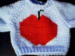 Handmade Baby Born Doll Sweater - Apple