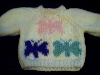 Handmade Baby Born Doll Sweater - Butterflies