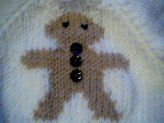 Handmade Baby Born Doll Sweater - Gingerbread Man