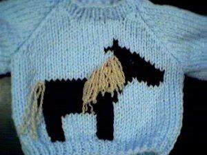 Handmade Baby Born Doll Sweater - Horse