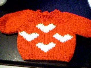 Handmade Baby Born Doll Sweater - Multi Heart