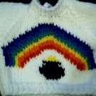 Handmade Baby Born Doll Sweater - Pot of Gold Rainbow