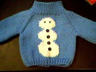 Handmade Baby Born Doll Sweater - Snowman