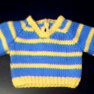 Handmade Baby Born V-Neck Striped Sweater