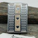 Retired 2007 Beige Armor Enamel Hearts Design Chrome Zippo Lighter Free Shipping