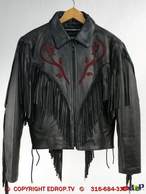 Fringe Genuine Leather Ladies Coat Thinsulate Lining 10 biker jacket
