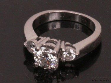 Gia .76 CT VS2 G 1CTW SZ4.5 Platinum 3 Stone Engagement Ring (Cert# 10894095)
