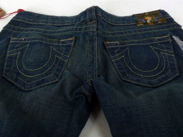 New Women's True Religion Carrie Bugsy Gold Flare Jeans27  WASK75F75 29w 36i 7r