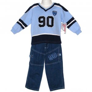URBAN EXTREME 100% COTTON ACTIVE WEAR SET WITH DENIM PANTS & LONG SLEEVE TOP 3T - FREE SHIPPING