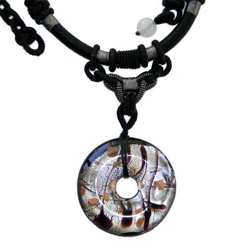 18 INCH SILVER DISC MURANO GLASS PENDANT NECKLACE WITH BLACK ADJUSTABLE STRAP - FREE SHIPPING