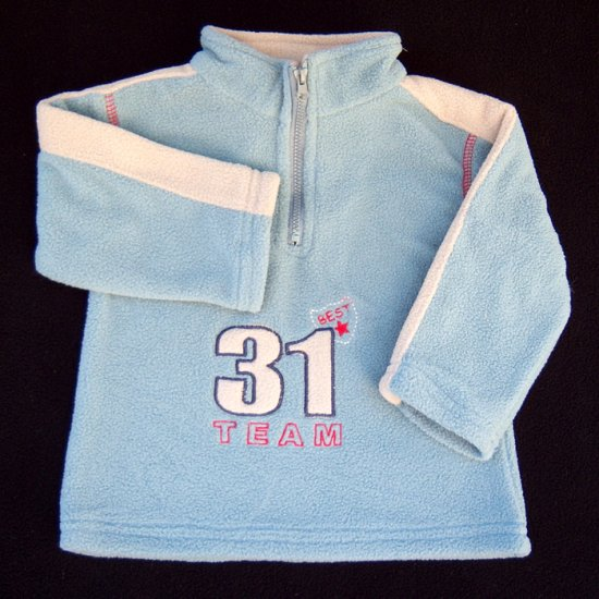 '31' FLEECE QUARTER-ZIP MOCK NECK PULLOVER WITH EMBROIDERY & STRIPES 6-12 MONTHS - FREE SHIPPING