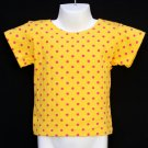 CHICKEN NOODLE YELLOW SHORT SLEEVE SHIRT WITH RED POLKA DOTS GIRLS 4 MADE IN USA - FREE SHIPPING