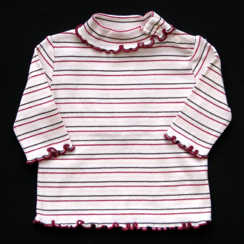 GYMBOREE AUTUMN HIGHLANDS STRIPED TURTLENECK WITH SCALLOPED EDGES 0-3 MOS. - FREE SHIPPING