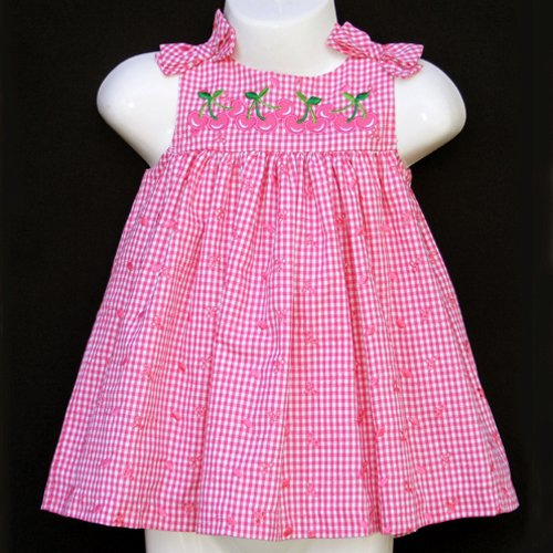 RARE EDITIONS CHERRY EYELET DRESS SET 6-9 MOS. - FREE USA + CAN SHIPPING