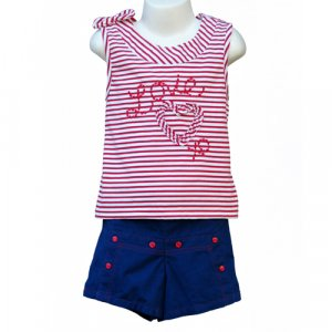 """BT KIDS """"LOVE"""" SAILOR STYLE SLEEVELESS SHIRT AND SHORTS WITH MATCHING HAT GIRLS 5 - FREE SHIPPING"""
