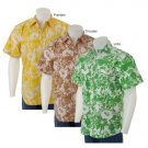 LIVE MECHANICS SHORT SLEEVE MODERN HAWAIIAN SHIRT THRUSTER (BROWN) FLORAL S - FREE SHIPPING