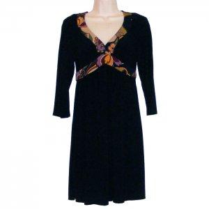 OC BY OC OLEG CASSINI 3/4 SLEEVE BLACK RIBBON BACK DRESS WITH MULTICOLOR TRIM 2 - FREE SHIPPING