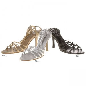 ANDREW STEVENS FLAIR STRAPPY HIGH HEEL SANDALS 8M SILVER METALLIC LEATHER - FREE SHIPPING