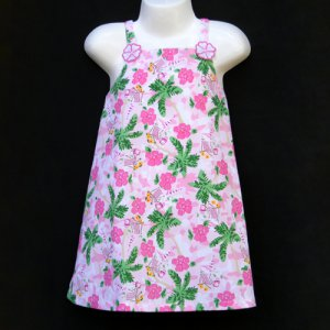LIL� JELLYBEAN PINK AND GREEN MULTI HIBISCUS AND PALM TREE TROPICAL SUNDRESS 3T - FREE SHIPPING