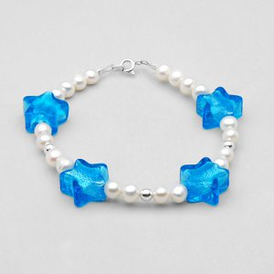 "7.5"" BRACELET MADE WITH MURANO GLASS, FRESHWATER PEARLS AND 925 STERLING SILVER - FREE SHIPPING"