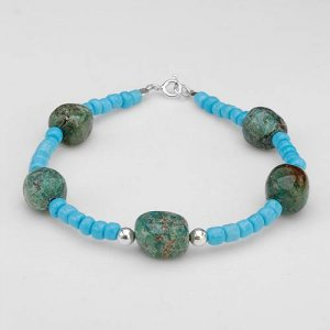 7.5 INCH BRACELET WITH 19.50 CTW JASPERS, SIMULATED GEMS AND 925 STERLING SILVER - FREE SHIPPING
