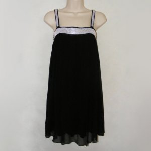 FOR JOSEPH LINED BLACK SEMI-SHEER SILK COCKTAIL DRESS WITH RHINESTONES XS - FREE SHIPPING