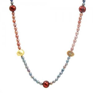 18 INCH NECKLACE MADE OF MULTICOLOR FRESHWATER PEARLS AND 925 STERLING SILVER - FREE SHIPPING