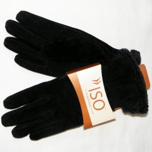 BLACK SUEDE ISOTONER GLOVES WITH MICROLUXE LINING M - FREE SHIPPING