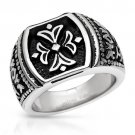 GENTLEMEN'S BLACK AND METALLIC TWO TONE RING CRAFTED IN STAINLESS STEEL US-10 - FREE SHIPPING