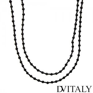 DV ITALY 31 INCH LONG NECKLACE WITH BLACK SIMULATED GEMS IN ALTERNATING SIZES - FREE SHIPPING