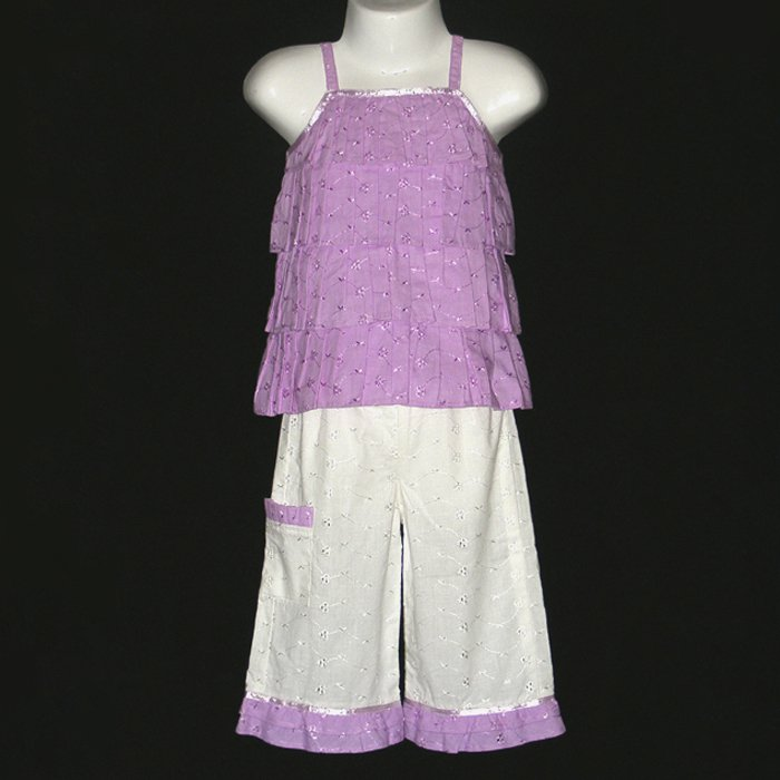 BONU GIRL PURPLE AND WHITE TIERED TOP RUFFLED BOTTOM EYELET PANT SET 18 MONTHS - FREE SHIPPING