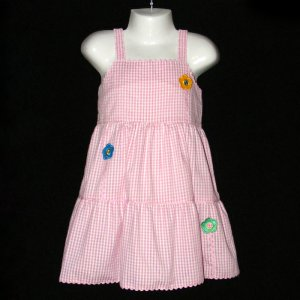 LIL' JELLYBEAN SLEEVELESS PINK AND WHITE GINGHAM TIERED FLOWER DRESS 4T - FREE SHIPPING