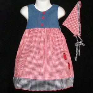 DAKOTA BLUES DENIM & MULTI-COLOR LADYBUG EMBROIDERED DRESS WITH BANDANNA GIRLS 4 - FREE SHIPPING