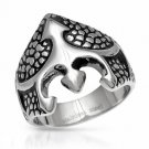 GENTLEMEN'S TWO TONE BLACK AND SILVER COLOR RING CRAFTED IN STAINLESS STEEL US-9 - FREE SHIPPING