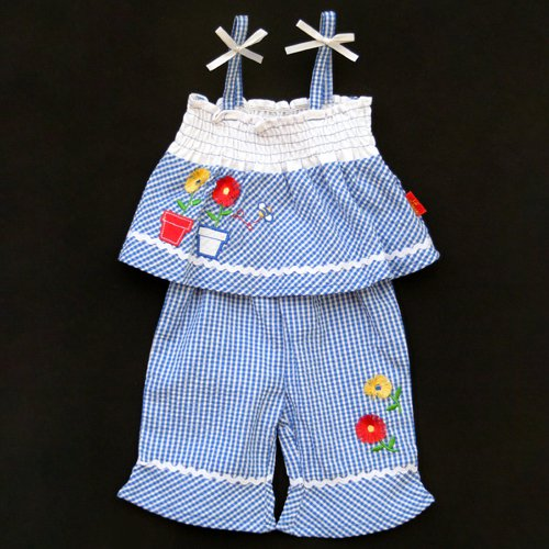 LIL' JELLYBEAN GINGHAM BLUE AND WHITE SUMMER CAPRI SET WITH BANDANNA 0-3 MONTHS - FREE SHIPPING