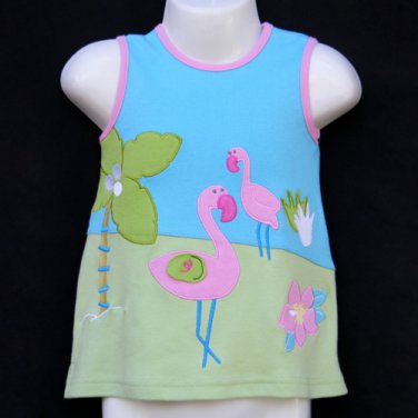 LIL' JELLYBEAN BLUE AND GREEN SLEEVELESS FLAMINGO DRESS AND BLOOMERS 3-6 MONTHS - FREE SHIPPING