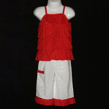 BONU GIRL RED AND WHITE TIERED TOP RUFFLED BOTTOM EYELET PANT SET 12 MONTHS - FREE SHIPPING