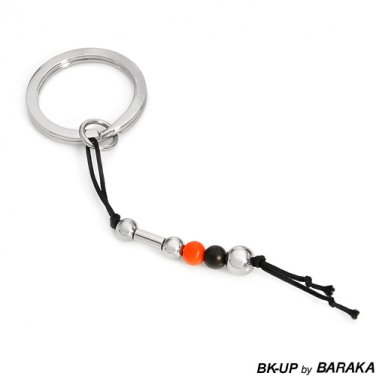 BK-UP BY BARAKA POLISHED STAINLESS STEEL KEY RING WITH RUBBER AND FABRIC DETAILS - FREE SHIPPING