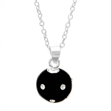 "STERLING SILVER 925 QUALITY 18"" SPHERICAL PENDANT NECKLACE WITH ENAMEL AND CRYSTALS - FREE SHIPPING"