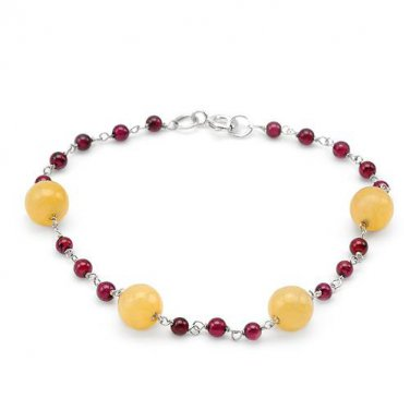 7.5 INCH BRACELET IN 925 QUALITY STERLING SILVER, 5.61 CTW GARNETS AND YELLOW JADES - FREE SHIPPING
