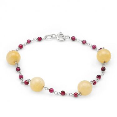 """7"""" BRACELET IN 925 QUALITY STERLING SILVER, 2.52 CTW GENUINE GARNETS & YELLOW JADES - FREE SHIPPING"""