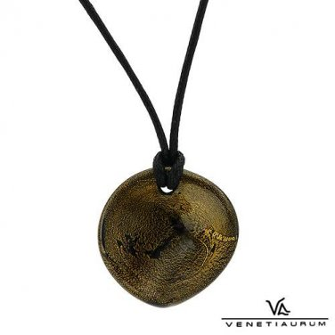 VENETIAURUM 24K QUALITY TWO TONE MURANO GLASS GOLD AND BLACK NECKLACE MADE IN ITALY - FREE SHIPPING